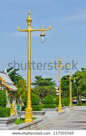 Beautiful lighting pole at Sothorn Wararam Woraviharn temple, Thailand.