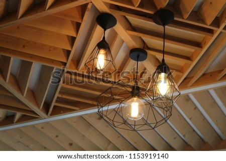 Beautiful lights in a cafe  #1153919140