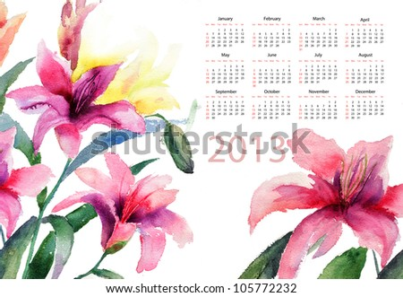 Beautiful Lily flowers, watercolor illustration, calendar for 2013