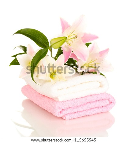 beautiful lily on towel isolated on white