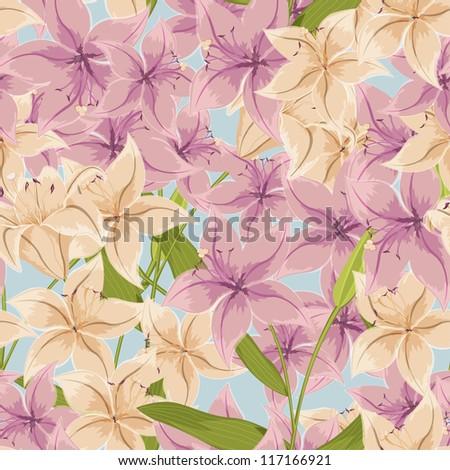 Beautiful lily seamless pattern