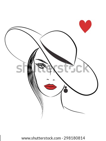 Beautiful line art fashion woman in hat
