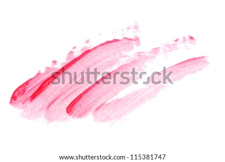 beautiful lip gloss smears, isolated on white