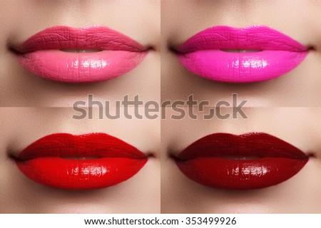 Beautiful lips collection color wine, fuchsia, pink, red. Beautiful make-up closeup. Sensual open mouth. Lipstick and lipgloss