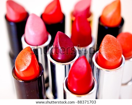 Beautiful lipsticks, cosmetics and make-up