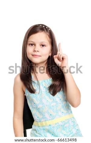 beautiful little brunette girl in studio isolated on white