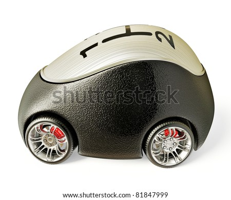 Beautiful little car is isolated on a white background