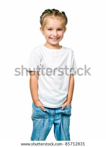 beautiful little fashion model on white background