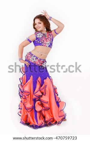 d12e61005 Beautiful little girl belly dancer at ballroom latina dance costume  isolated on white. Child 10