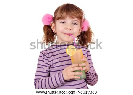 beautiful little girl drink lemonade