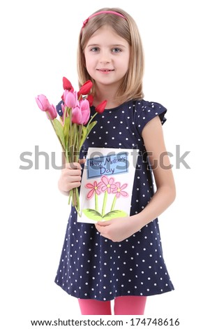 Beautiful little girl holding bouquet and card isolated on white