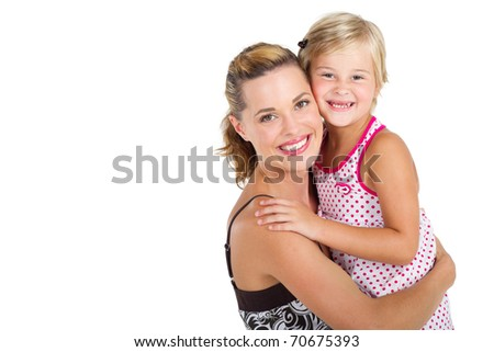 beautiful little girl hugging her mother in studio - isolated on white
