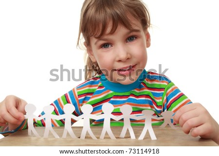 beautiful little girl in striped shirt with garland of paper creatures