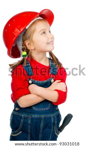beautiful little girl in the construction helmet on white background