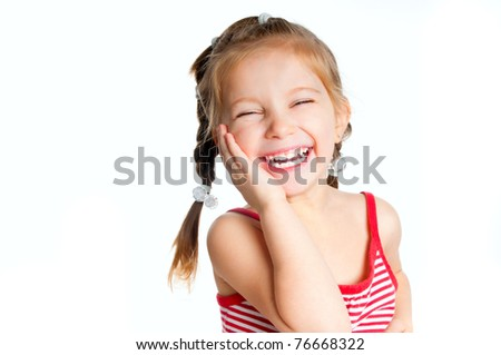 beautiful little girl isolated on a white background - stock photo