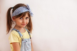 beautiful little girl of 6 years, the background for advertising