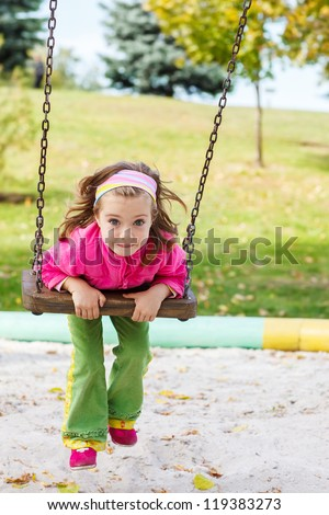 Beautiful little girl on the swing