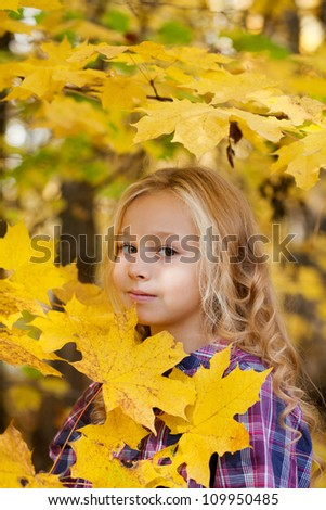 beautiful little girl on walk in autumn park