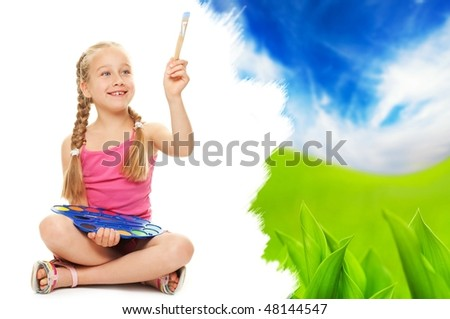 Beautiful little girl painting nature landscape