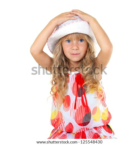 Beautiful little girl touching her head isolated on white background