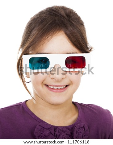 Beautiful little girl wearing 3d glasses and smiling, isolated over a white background
