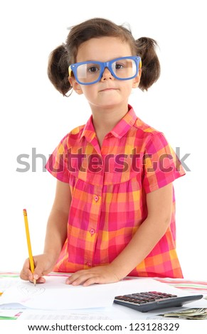 beautiful little girl with calculator and money isolated on white
