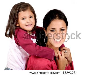 beautiful little girl with her mum over white