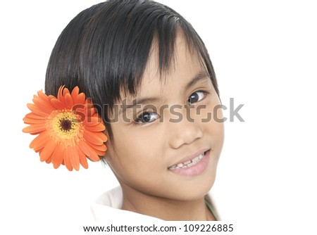 beautiful little girl with sunflower