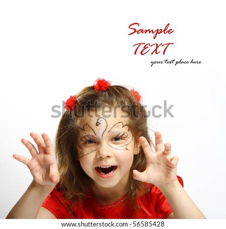 beautiful little girl 6 years - stock photo