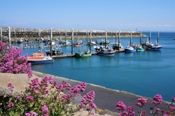 Beautiful little harbour with colorfull fishingboats in Saint-Quay-Portrieux Brittany France