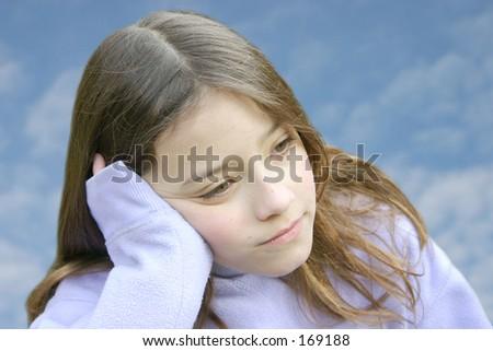 beautiful little pensive girl