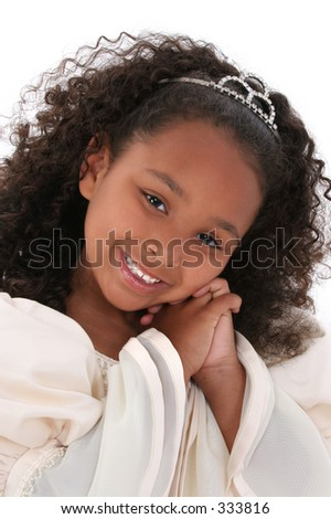 ... old black girl in formal pageant dress and tiara. Close-up over white