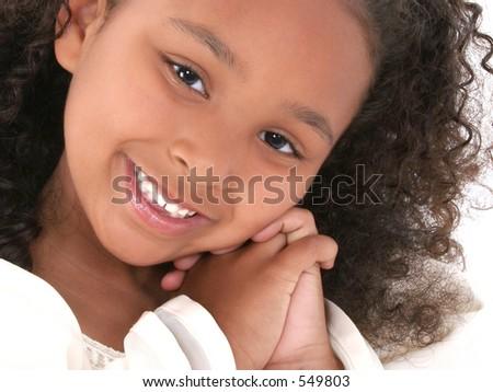Beautiful little six year old girl portrait. Shot in studio. - stock ...