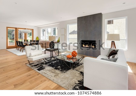 Beautiful Living Room and Fireplace in New Luxury Home. Has view