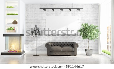 Beautiful living room interior with mockup poster frame. 3D rendering #591144617