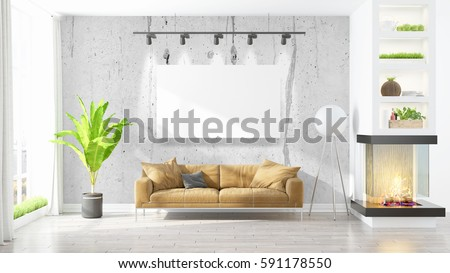 Beautiful living room interior with mockup poster frame. 3D rendering #591178550