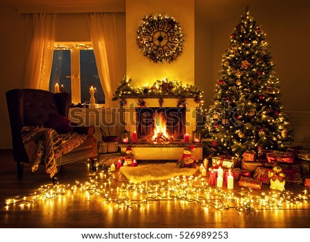 Beautiful living room with a fireplace and a christmas tree #526989253