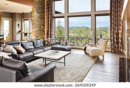 Beautiful living room with hardwood floors and amazing view #264509249