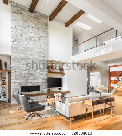 Beautiful Living Room With Hardwood Floors And Fireplace