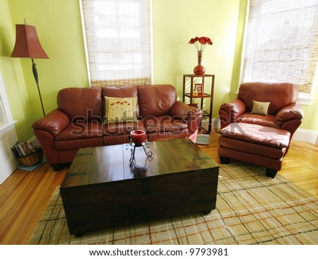 beautiful living room with leather furniture