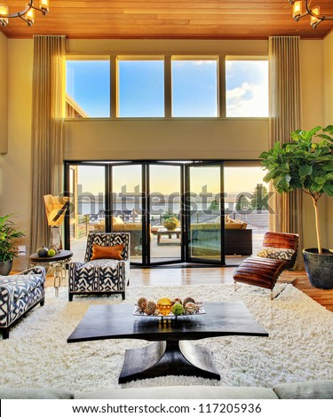 Beautiful Living Room with View in Luxury Home