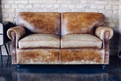 Beautiful living room with vintage style  leather sofa