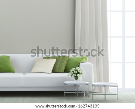 beautiful living room with white sofa - Shutterstock ID 162743195