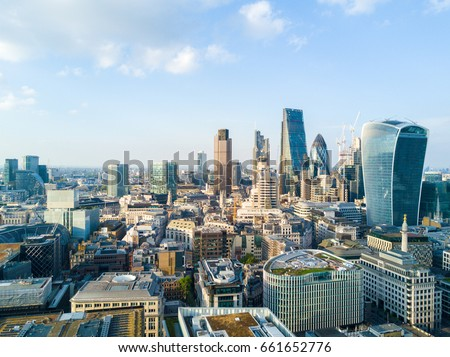 Beautiful London business district view with many skyscrapers. #661652776