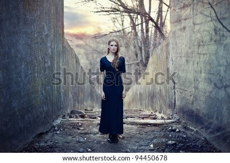 beautiful lonely girl  in long...