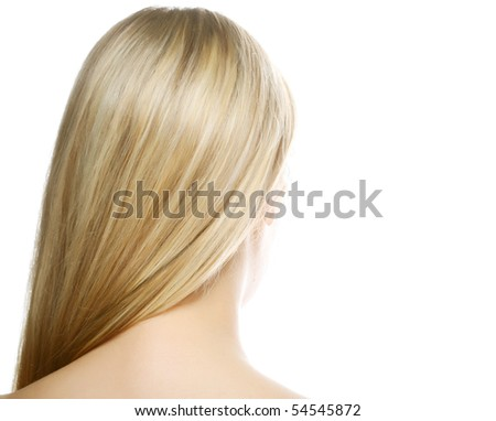 Beautiful long blond hair /woman shot from back isolated on white