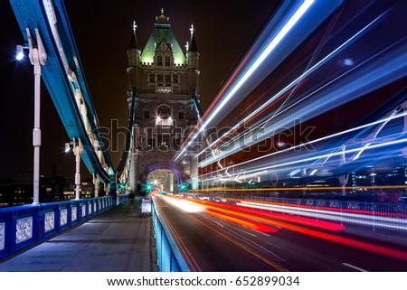Beautiful Long exposure image of Tower Bridge in London taken at Night when no one around