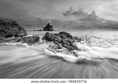 Beautiful long exposure seascape in black and white. Nature composition.