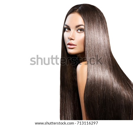 Beautiful long Hair. Beauty woman with luxurious straight brown hair. Beautiful brunette Model, Healthy Hair. Lady with long smooth shiny straight hair. Hairstyle, cure. Isolated on white background #713116297