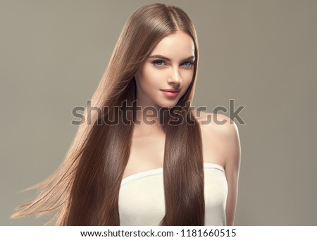 Beautiful long hair brunette woman with beauty hairstyle female model #1181660515
